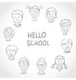 Hello School Kids Face Set Sketch vector image