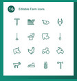 16 farm icons vector image vector image