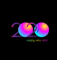2020 happy new year symbol on luminous neon logo vector image