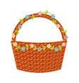 basket with floral decoration vector image