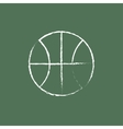 Basketball ball icon drawn in chalk vector image