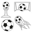 black and white soccer goals set vector image