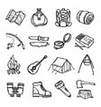 Camping Black White Icons Set vector image vector image