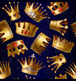 cartoon gold royal crowns pattern vector image