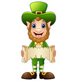 cartoon leprechaun holding a scroll vector image