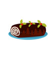 chocolate roll cake decorated with red berries and vector image