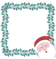 christmas card with frame of holly branches and sa vector image vector image