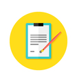 Contract Clipboard with Pen Flat Circle Icon vector image