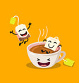 Cute cartoon cup of tea with happy tea bags vector image