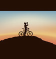 cyclist on edge vector image vector image