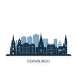 Edinburgh skyline monochrome silhouette