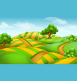 farm field landscape 3d background vector image vector image