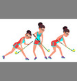 field hockey female player dribbling ball vector image vector image