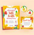 fruits theme birthday invitation set tutti frutti vector image vector image