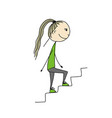 girl climbs stairs sketch for your design vector image