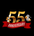 golden 55 years anniversary template with red vector image vector image