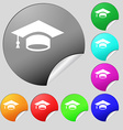 Graduation icon sign Set of eight multi colored vector image