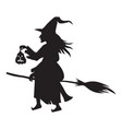 halloween scary witch on broom fly silhouette vector image