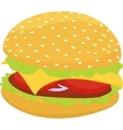 hamburger or cheeseburger icon isolated on vector image