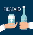 hands holding alcohol bottle and medicine care vector image