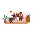 happy family smiling sitting on couch flat vector image vector image