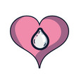 Heart with water drop inside and love symbol