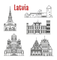Historic landmarks and sightseeings of Latvia vector image vector image