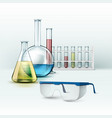 laboratory flasks with glasses vector image vector image