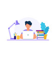 man with laptop studying or working concept vector image vector image