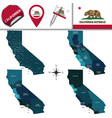 map of california with regions vector image vector image