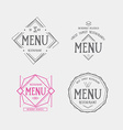 Menu logo template vintage geometric badge food vector image vector image