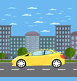 modern universal car in urban landscape vector image vector image