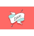 Old vintage ribbon banner with text Love in
