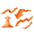 orange arrows 3d shiny set of icons vector image vector image