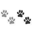 paw footprints mosaic of binary digits vector image vector image