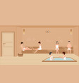 people wearing towels enjoys in sauna steam room vector image