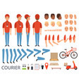 pizza delivery animation fast food courier body vector image vector image