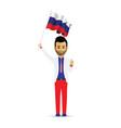 russia flag waving man vector image vector image