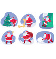 santa claus on christmas with evergreen pine tree vector image