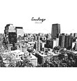 santiago cityscape drawing black and white vector image