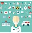 set flat medical icons vector image vector image