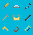 set of 9 editable tools flat icons includes vector image vector image