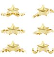 set of golden realistic stars vector image vector image