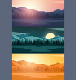 set of nature mountains landscape rocky mountains vector image