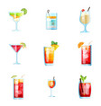 set of nine tropical cocktails margarita tom vector image vector image