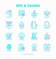 spa sauna thin line icons set vector image