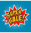 Super Sale Comic style phrase on sunburst vector image