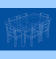 table with chairs rendering 3d vector image vector image