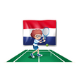 The flag of Netherlands at the back of a tennis vector image vector image