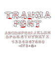 Trauma font Crippled letters wrapped medical vector image vector image